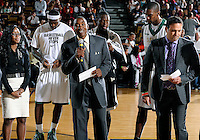 Florida International University Head Basketball Coach Isiah Thomas with NBA players Dwyane Wade, LeBron James, and Chris Bosh at a half-time check presentation at the South Florida All Star Classic held at FIU's U.S. Century Bank Arena, Miami, Florida. .