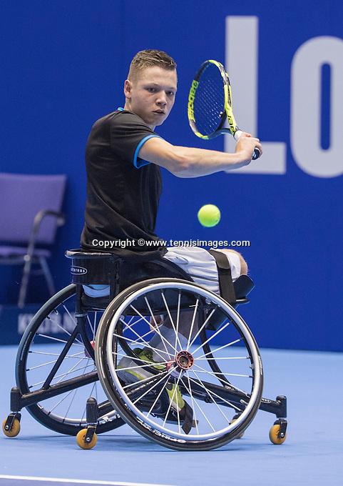 Rotterdam, Netherlands, December 15, 2016, Topsportcentrum, Lotto NK Tennis,  Wheelchair, Ruben Spaargaren (NED) <br /> Photo: Tennisimages/Henk Koster