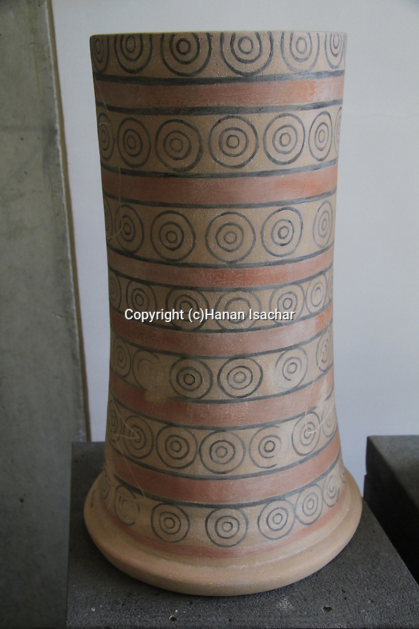 A painted stand from Tel Dan, pottery, 9th century BC, at the Skirball Museum of Biblical Archaeology in Jerusalem