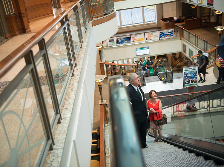 President Nellis at Baker Center after picking up his OHIO ID.