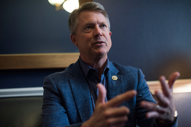 UNITED STATES - MAY 1: Rep. Roger Marshall, R-Kan., is interviewed in his Cannon Building office on May 1, 2017. (Photo By Tom Williams/CQ Roll Call)