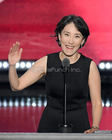Dr. Lisa Shin, National Diversity Coalition for Trump, makes remarks at the 2016 Republican National Convention held at the Quicken Loans Arena in Cleveland, Ohio on Thursday, July 21, 2016.<br /> Credit: Ron Sachs / CNP/MediaPunch<br /> (RESTRICTION: NO New York or New Jersey Newspapers or newspapers within a 75 mile radius of New York City)