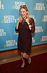 Laura Heywood attends Broadway Red Carpet Premiere of 'Speech & Debate'  at the American Airlines Theatre on April 2, 2017 in New York City.