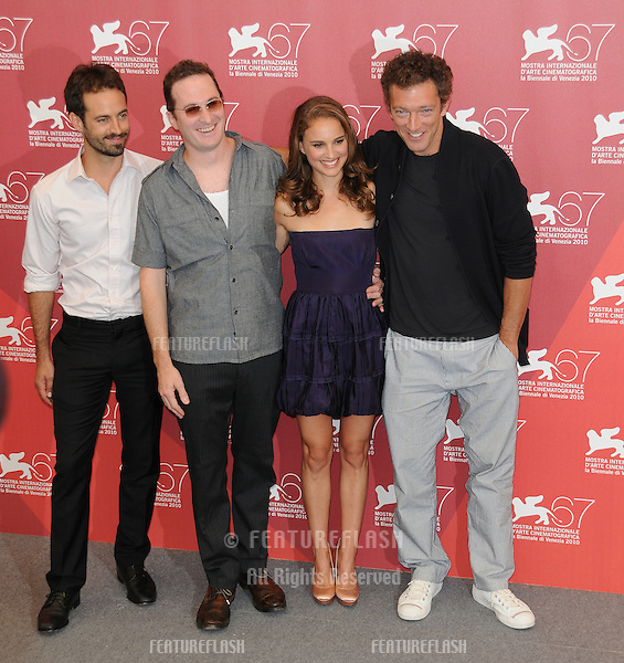 Benjamin Millepied, Darren Aronofsky, Natalie Portman and Vincent Cassel at the Black Swan photocall during the 67th annual Venice Film Festival..September 1, 2010  Venice, IT.Picture: Anne-Marie Michel / Featureflash