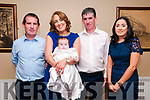 Baby Brid O'Keeffe, Kilmorna, Listowel with her parents Brenda & Fergus O'Keeffe and god parents Joe O'Keeffe & Anne Marie Scanlon who was christened in Knockanure Church by Fr. O'Callaghan on Sunday last and afterwards at the Listowel Arms Hotel.