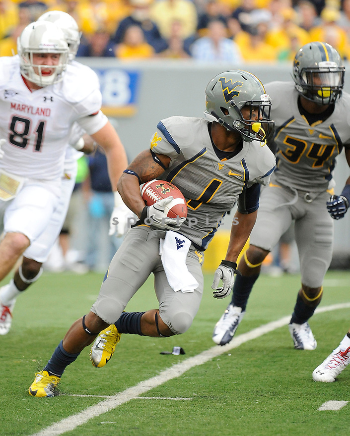 West Virginia Mountaineers Tavon Austin (1) in action during a game against the Maryland Terrapins on September 22, 2012 at Milan Puskar Stadium in Morgantown, WV. West Virginia beat Maryland 31-21.