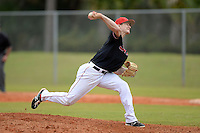 Ball State Cardinals pitcher Zach Plesac (11) during a game against the Wisconsin-Milwaukee Panthers on February 21, 2014 at North Charlotte Regional Park in Port Charlotte, Florida.  Ball State defeated Wisconsin-Milwaukee 3-1.  (Mike Janes/Four Seam Images)
