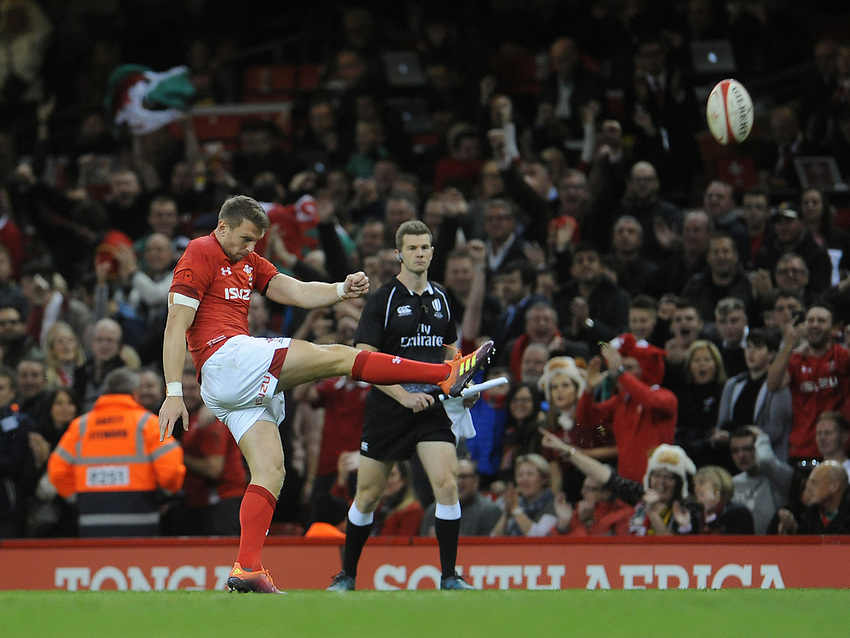 Wales' Dan Biggar kicks the ball out to end the game and beat Australia 6-3<br /> <br /> Photographer Ian Cook/CameraSport<br /> <br /> Under Armour Series Autumn Internationals - Wales v Australia - Saturday 10th November 2018 - Principality Stadium - Cardiff<br /> <br /> World Copyright © 2018 CameraSport. All rights reserved. 43 Linden Ave. Countesthorpe. Leicester. England. LE8 5PG - Tel: +44 (0) 116 277 4147 - admin@camerasport.com - www.camerasport.com