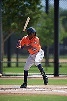 Houston Astros Freudis Nova (98) bats during a Minor League Spring Training Intrasquad game on March 28, 2019 at the FITTEAM Ballpark of the Palm Beaches in West Palm Beach, Florida.  (Mike Janes/Four Seam Images)