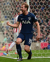 Harry Kane of Tottenham  celebrates after he scores to make it 2-1 during the EPL - Premier League match between Chelsea and West Ham United at Stamford Bridge, London, England on 8 April 2018. Photo by PRiME Media Images.