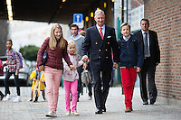 King Philippe of Belgium arrives with his children for the 1st day of school - Brussels