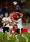 Tom Lawrence of Wales tussles with Stefan Lainer of Austria during the World Cup Qualifying Group D match at the Cardiff City Stadium, Cardiff. Picture date 2nd September 2017. Picture credit should read: Simon Bellis/Sportimage