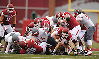 NWA Media/ANDY SHUPE - Arkansas quarterback Austin Allen carries the ball through the Nicholls defense during the third quarter Saturday, Sept. 6, 2014, at Razorback Stadium in Fayetteville