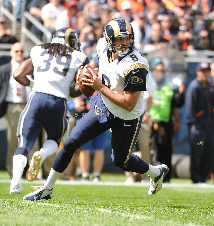 St. Louis Rams Sam Bradford (8) in action  during a game against the Bears on September 23, 2012 at Soldier Field in Chicago, IL. The Bears beat the Rams 26-3.