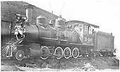 3/4 fireman's-side view of C-19 #340 beside Gunnison roundhouse.<br /> D&amp;RGW  Gunnison, CO  8/1940