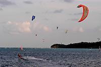 Kite boarding, Boracay island, Philippines
