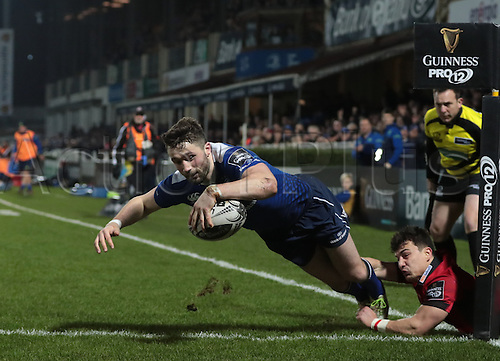 February 17th 2017, RDS Arena, Dublin, Ireland; Guinness Pro12 Rugby, Leinster versus Edinburgh; <br /> Barry Daly (Leinster) dives over to score a try.
