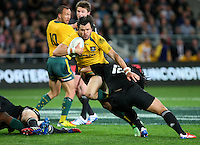 Australia's Adam Ashley-Cooper, left, in the tackle of New Zealand's Ma'a Nonu in the Bledisloe Cup rugby match, Forsyth Barr Stadium, Dunedin, New Zealand, Saturday, October 19, 2013. Credit:SNPA / Dianne Manson.