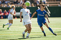 Seattle, WA - Sunday, May 1, 2016: Seattle Reign FC midfielder Keelin Winters (11) and FC Kansas City midfielder Mandy Laddish (7) watch the ball during a National Women's Soccer League (NWSL) match at Memorial Stadium.