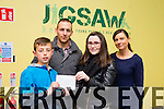 Tyrese Harty and Oliver Coffey Presenting a cheque for 620 euros to Jigsaw Ireland on behalf of Helen and Patrick Coffey and family in honour of their son Daniel Coffey.The money was presented to Ciara Moriarty  ( acting clinical co-ordinator jigsaw Ireland ) and Triona Casey Jigsaw Ireland. The Money was raised on St Stephens Day in Marian Park where they held a big football tournament in memory of Daniel and would like to thank Richard Duggan, Joe Sheridan and Tim Landers for helping to organise it