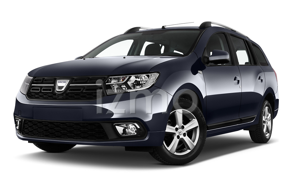 Stock pictures of low aggressive front three quarter view of 2017 Dacia Logan-MCV Laureate 5 Door Wagon Low Aggressive