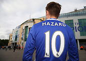 12th September 2017, Stamford Bridge, London, England; UEFA Champions League Group stage, Chelsea versus Qarabag FK; Chelsea fan looking at Stamford Bridge wearing a home Chelsea shirt with Alvaro Eden Hazard of Chelsea on the back