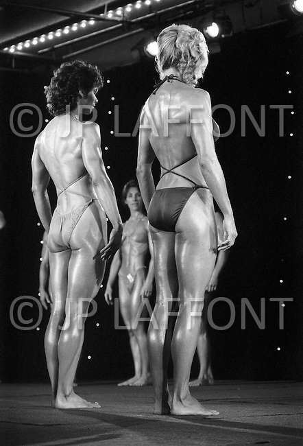 April 24th 1981, Atlantic City, NJ, USA.<br /> Deborah Diana and Georgia Fudge, Women's World Bodybuilding Championships.