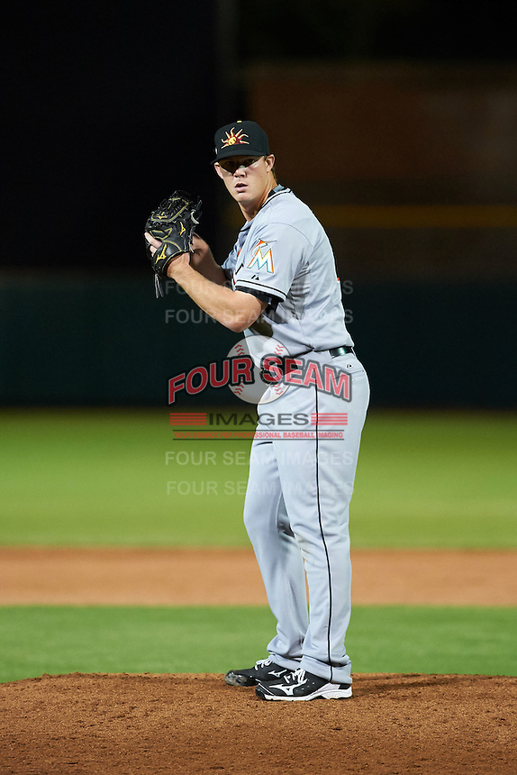 Mesa Solar Sox pitcher Austin Brice (41) gets ready to deliver a pitch during an Arizona Fall League game against the Scottsdale Scorpions on October 20, 2015 at Scottsdale Stadium in Scottsdale, Arizona.  Mesa defeated Scottsdale 5-4.  (Mike Janes/Four Seam Images)