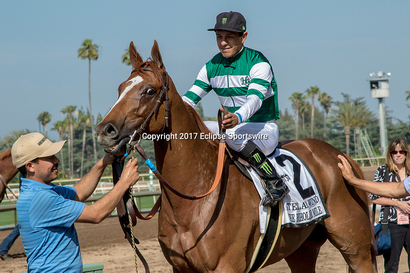 ARCADIA, CA. JUNE 3: #2 Stellar Wind wins the Beholder Mile on June 3, 2017 at Santa Anita Park, in Arcadia, CA.(Photo by Casey Phillips/Eclipse Sportswire/Getty Images)