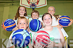 SLAM DUNK: Enjoying the Team Kerry Basketball Camp in Causeway last week, front l-r: Eireann McElligott O'Brien, Niamh Moriarty. Back l-r: Valerie Kiely, Harry Luck, Millie Luck.