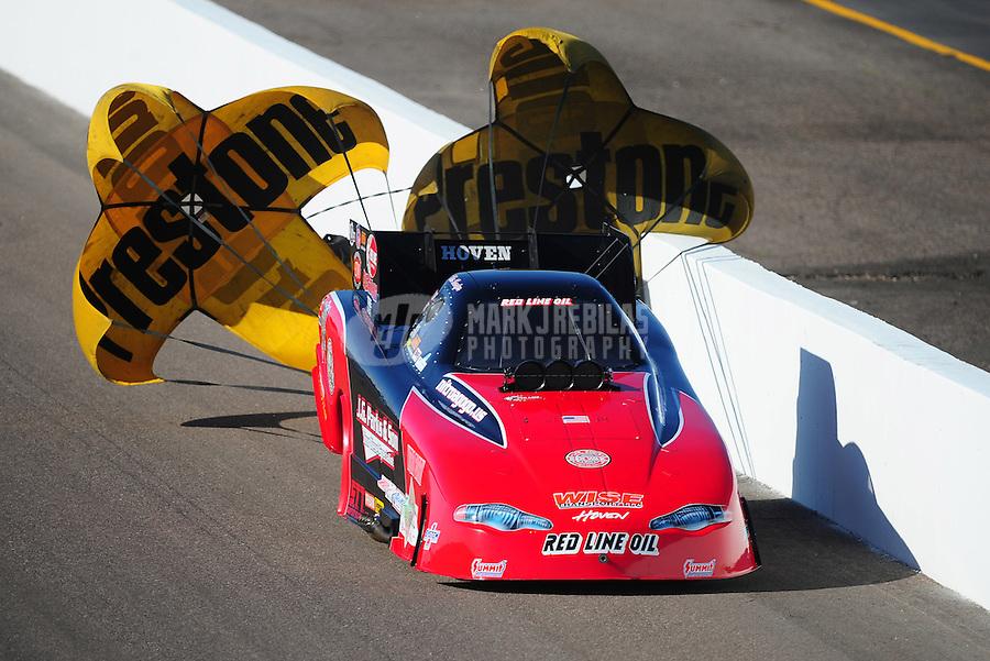 Feb. 18, 2012; Chandler, AZ, USA; NHRA funny car driver Jeff Diehl during qualifying for the Arizona Nationals at Firebird International Raceway. Mandatory Credit: Mark J. Rebilas-