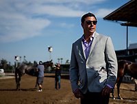 ARCADIA, CA - SEPTEMBER 30: Simon Callaghan after winning the Chandelier Stakes at Santa Anita Park on September 30, 2017 in Arcadia, California. (Photo by Alex Evers/Eclipse Sportswire/Getty Images)