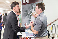 Senior civil engineering major Thomas L. Liffrig of Starkville shakes hands with one of the more than 170 employer representatives at Mississippi State&rsquo;s annual spring Career Days. Along with collecting company literature and sharing their own r&eacute;sum&eacute;s with potential employers from around the country, MSU students and alumni had the opportunity to discuss their career interests and skill sets during the two-day campus event.<br />
