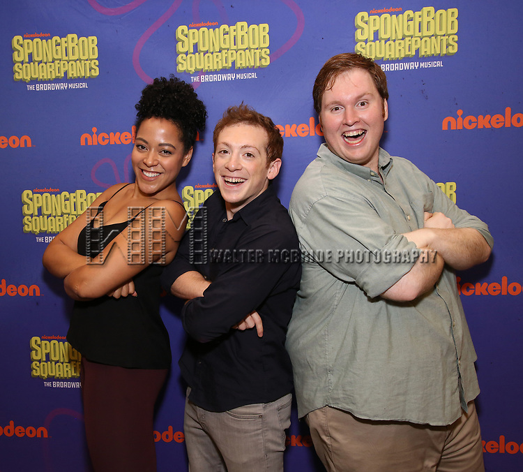 Lilli Cooper, Ethan Slater and Danny Skinner during the Rehearsal Press Preview of the New Broadway  Musical on 'SpongeBob SquarePants'  on October 11, 2017 at the Duke 42nd Street Studios in New York City.