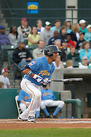 Myrtle Beach Pelicans outfielder Jacob Hannemann (15) at bat during a game against the Wilmington Blue Rocks at Ticketreturn.com Field at Pelicans Ballpark on April 10, 2015 in Myrtle Beach, South Carolina.  Wilmington defeated Myrtle Beach 8-3. (Robert Gurganus/Four Seam Images)