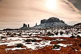 USA; Utah, Arizona; Monument Valley, Navajo Tribal Park, view of Brigham's Tomb looking towards Arizona