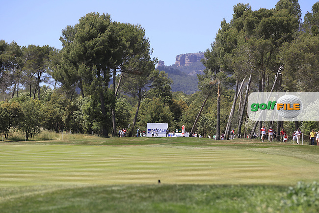 Looking towards the 18th tee during Round 3 of the Open de Espana  in Club de Golf el Prat, Barcelona on Saturday 16th May 2015.<br /> Picture:  Thos Caffrey / www.golffile.ie