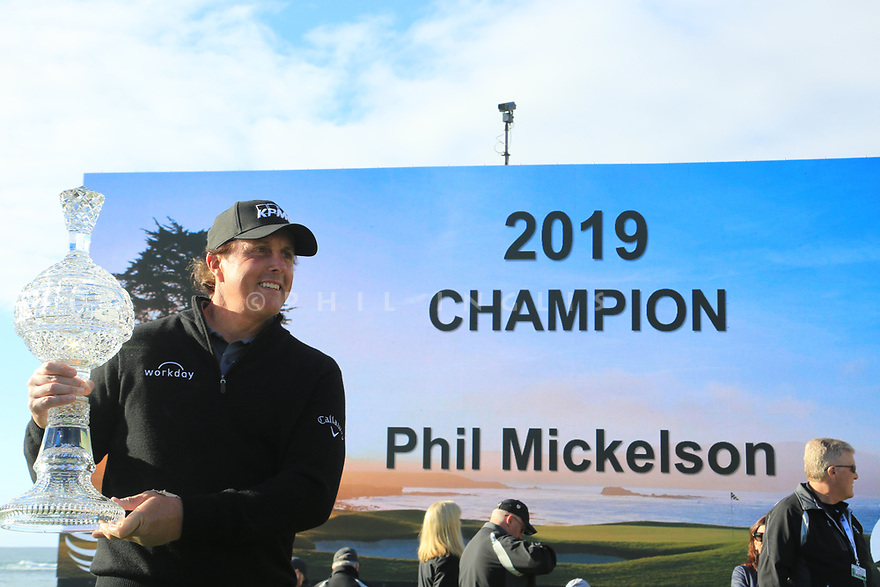 Phil Mickelson (USA) poses with the trophy after the final round of the AT&T Pro-Am, Pebble Beach Golf Links, Monterey, USA. 11/02/2019<br /> Picture: Golffile   Phil Inglis<br /> <br /> <br /> All photo usage must carry mandatory copyright credit (© Golffile   Phil Inglis)