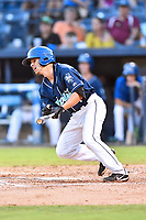Asheville Tourists second baseman Jeff Moberg (3) swings at a pitch during game two of a double header against the Columbia Fireflies at McCormick Field on August 4, 2018 in Asheville, North Carolina. The Tourists defeated the Fireflies 8-0. (Tony Farlow/Four Seam Images)