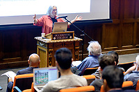 (Photo by Don Milici, Freelance)<br /> <br /> Occidental College hosts a Keynote on Global Cities by Professor Saskia Sassen, LSE/Colombia and comment by Oxy Emeritus Professor Robert Gottlieb. Choi Auditorium, Feb. 6, 2018. Sponsor: John Parke Young Initiative on the Global Economy, McKinnon Center for Global Affairs, Diplomacy & World Affairs
