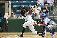 April 27 2007: P.J.Phillips of the Rancho Cucamonga Quakes bats against the Stockton Ports at The Epicenter in Rancho Cucamonga,CA.  Photo by Larry Goren/Four Seam Images