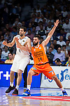 Real Madrid's player Felipe Reyes and Valencia Basket's Dubljevic during the first match of the Semi Finals of Liga Endesa Playoff at Barclaycard Center in Madrid. June 02. 2016. (ALTERPHOTOS/Borja B.Hojas)