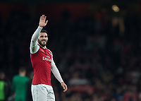 Sead Kolasinac of Arsenal waves to the fans during the UEFA Europa League round of 16 2nd leg match between Arsenal and AC Milan at the Emirates Stadium, London, England on 15 March 2018. Photo by Vince  Mignott / PRiME Media Images.