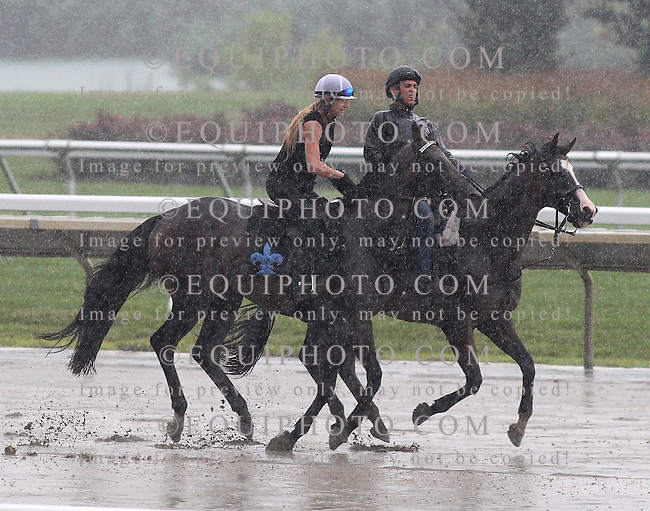 Preakness Stakes Champion Exaggerator (L) with exercise rider Lisa Dickey gallops in the driving rain on Friday morning July 29, 2016 at Monmouth Park in Oceanport, New Jersey as rider Pablo Gallegos guides him around the track.  Exaggerator will renew his rivalry with Kentucky Derby Champ Nyquist in the $1,000,000 Haskell Invitational at Monmouth Park on Sunday July 31, 2016.  Photo By Bill Denver/EQUI-PHOTO.