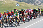 The peleton including race leader Rohan Dennis (AUS) BMC Racing Team Maglia Rosa in action during Stage 5 running 153km from Agrigento to Santa Ninfa (Valle del Belice), Sicily, Italy. 9th May 2018.<br /> Picture: LaPresse/Fabio Ferrari | Cyclefile<br /> <br /> <br /> All photos usage must carry mandatory copyright credit (&copy; Cyclefile | LaPresse/Fabio Ferrari)