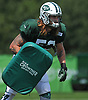 Dylan Donahue #53 of the New York Jets works on blocking drills during a day of team training camp held at Atlantic Health Jets Training Center in Florham Park, NJ on Monday, July 31, 2017.