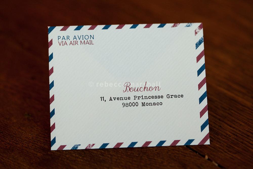 Bouchon restaurant, Monaco, 23 March 2012. Bills are presented to customers in custom envelopes.