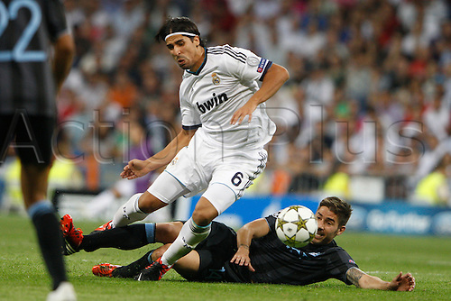 18.09.2012. Madrid. Spain.  Champions League   match played between Real Madrid CF vs  Manchester City at Santiago Bernabeu stadium. The picture show Sami Khedira (German midfielder of Real Madrid) Real Madrid rallied to win the game 3-2.