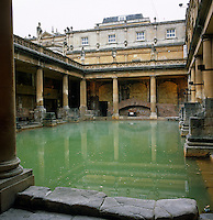 The lead-lined Great Bath in the city of Bath is fed by a hot spring and is bordered by a balustrade surmounted by Roman statues. Restored by architect Nicholas Grimshaw