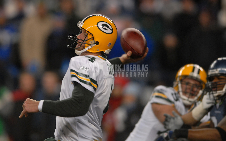 Nov. 27, 2006; Seattle, WA, USA; Green Bay Packers quarterback (4) Brett Favre against the Seattle Seahawks at Qwest Field in Seattle, Washington. Mandatory Credit: Mark J. Rebilas